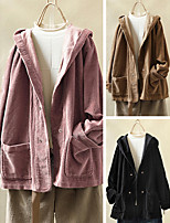 cheap -Women's Single Breasted Coat Regular Solid Colored Daily Basic Black Blushing Pink Brown L XL XXL