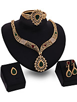 cheap -Women's Green Red Synthetic Diamond Bridal Jewelry Sets Heart Simple Basic Elegant Earrings Jewelry Gold For Wedding Engagement 1 set