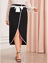 cheap -Women's Street Casual / Daily Streetwear Sophisticated Asymmetrical Skirts Solid Colored Split