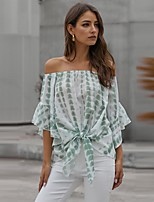 cheap -Women's Blouse Shirt Striped Print Knotted Off Shoulder Tops Loose Basic Elegant Basic Top Purple Green