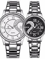 cheap -romantic his and hers watches - fq102 stainless steel pair hearts wristwatches for men women set of 2