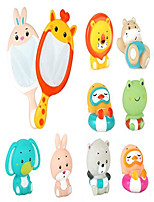 cheap -baby bath toys set with 8pcs soft cute ocean animals bath squirter and 2pcs fishing net water toys bathtub bathroom pool sea animal toys for kids (giraffe+rabbit)