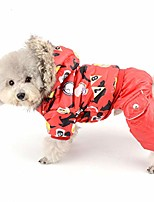 cheap -waterproof dog snowsuit jumpsuit girl winter fleece lined coat puppy hoodie chihuahua clothes windproof doogy parka outfit cotton-padded hooded jacket for small dogs cats red l