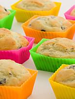 cheap -12pcs/pack Muffin Cupcake Mould Rectangle Shape Mini Silicone Muffin Cupcake Tray