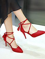 cheap -Women's Heels Stiletto Heel Pointed Toe Sexy Daily Lace-up Solid Colored Suede Walking Shoes Black / Red / Beige