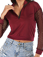 cheap -Women's Sweatshirt Cut Out Crop Top V Neck Solid Color Sport Athleisure Pullover Long Sleeve Warm Soft Comfortable Everyday Use Daily Exercising