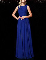 cheap -A-Line Elegant Minimalist Wedding Guest Formal Evening Dress Boat Neck Sleeveless Floor Length Chiffon with Pleats 2020