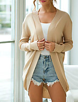 cheap -Women's Basic Knitted Solid Color Plain Cardigan Long Sleeve Slim Sweater Cardigans Crew Neck Round Neck Fall Winter Black Brown Beige