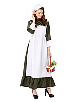 cheap -Maid Costume Dress Cosplay Costume Party Costume Adults' Women's Cosplay Vacation Dress Halloween Halloween Festival / Holiday Polyester Dark Green Women's Easy Carnival Costumes / Hat / Hat