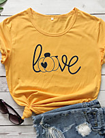 cheap -Women's Halloween T-shirt Graphic Prints Letter Pumpkin Print Round Neck Tops 100% Cotton Basic Halloween Basic Top White Black Purple