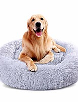 "cheap -large dog bed faux fur donut cuddler cat bed, self-warming ultra soft for improved sleep, machine washable waterproof bottom dog cushion bed (30"", grey)"