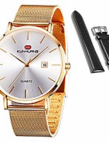 cheap -kunhuang men's watches ultra-thin designed dress watches and casual watches for men & women, quartz analog date wrist watches with both stainless steel mesh band and leather strap