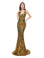 cheap -Mermaid / Trumpet Sexy Sparkle Engagement Formal Evening Dress V Neck Sleeveless Court Train Sequined with Sequin 2020