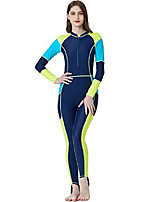 cheap -Women's Rash Guard Dive Skin Suit UV Sun Protection Quick Dry Spandex Lycra Swimwear Beach Wear Diving Suit Patchwork Front Zip Swimming Diving Surfing