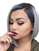 cheap -Synthetic Wig kinky Straight Bob Asymmetrical Wig Short Grey Synthetic Hair Women's Fashionable Design Cool Color Gradient Gray