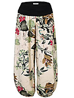 cheap -women's floral print elastic waist harem pants one size army green