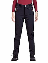 cheap -outdoor women's soft shell fleece lined ski pants winter lightweight hiking cargo nylon pants with multi-pockets (black large/us 12-14)