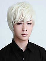 cheap -Synthetic Wig kinky Straight With Bangs Wig Short White Synthetic Hair 12 inch Men's Anime Cosplay Cool White