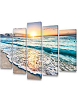 cheap --s58858 5 panels blue beach sunrise white wave pictures painting on canvas wall art stretched and framed seascape giclee canvas prints for home office decorations large artwork