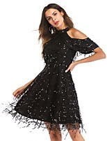 cheap -Women's A-Line Dress Short Mini Dress - Short Sleeve Solid Color Sequins Mesh Fall Halter Neck Casual 2020 Black S M L XL XXL