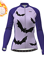 cheap -21Grams Women's Long Sleeve Cycling Jacket Winter Fleece Polyester Purple Fuchsia Novelty Animal Bike Jacket Top Mountain Bike MTB Road Bike Cycling Thermal Warm Fleece Lining Breathable Sports