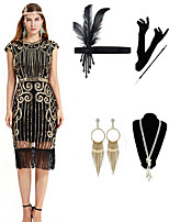 cheap -The Great Gatsby Vintage 1920s Vacation Dress Flapper Dress Outfits Masquerade Women's Tassel Fringe Costume Golden / Red / Green Vintage Cosplay Party Prom / Gloves / Headwear / Necklace / Earrings