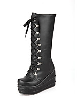 cheap -Women's Boots Wedge Heel Round Toe Casual Basic Daily Solid Colored PU Mid-Calf Boots Walking Shoes White / Black