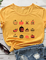 cheap -Women's Halloween T-shirt Graphic Prints Letter Pumpkin Print Round Neck Tops 100% Cotton Basic Halloween Basic Top White Purple Red