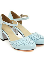 cheap -Women's Heels Wedge Heel Round Toe Sweet Daily Solid Colored PU Blue / Pink / Green
