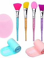 cheap -& #40;set of 7 silicone brush& #41; silicone facial mud mask brush applicator-spa headband with magic tape-silicone face makeup scrubbers exfoliator brush for women