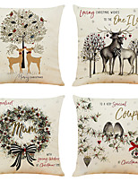 cheap -Set of 4 Simple Christmas Linen Square Decorative Throw Pillow Cases Sofa Cushion Covers 18x18