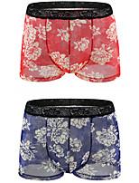 cheap -Men's 2 Piece Print Boxers Underwear - Normal Low Waist Multi color M L XL