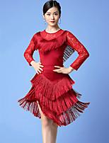 cheap -Latin Dance Skirts Lace Tassel Split Women's Training Performance Long Sleeve Milk Fiber