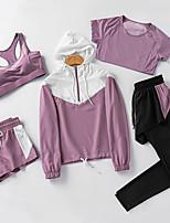 cheap -Women's Hoodie Crop Top Tee / T-shirt Jogger Pants Jogger Shorts Patchwork Zipper Color Block Crew Neck Spandex Color Block Solid Color Sport Athleisure Shorts Hoodie Pants T Shirt Long Sleeve