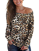 cheap -womens off the shoulder tops leopard print long sleeve shirts xl
