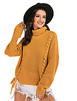cheap -Women's Basic Knitted Solid Color Plain Pullover Long Sleeve Sweater Cardigans Turtleneck Fall Winter Yellow