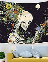 cheap -skull floral flowers moon tapestry colorful human skeleton tapestry for bedroom living room dining room.…