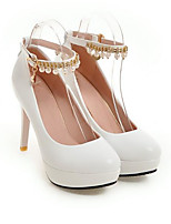 cheap -Women's Heels Pumps Round Toe Sexy Daily Pearl Buckle Solid Colored PU Walking Shoes White / Black / Pink