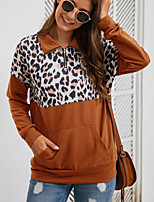 cheap -Women's Plus Size Daily Pullover Sweatshirt Leopard Cheetah Print V Neck Basic Hoodies Sweatshirts  Brown Gray