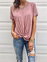 cheap -Women's T-shirt Solid Colored Round Neck Tops Slim Basic Basic Top White Blue Blushing Pink