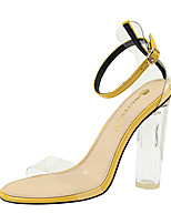 cheap -Women's Sandals Pumps Open Toe Sexy Party & Evening Sequin Solid Colored Faux Leather Almond / Black / Yellow