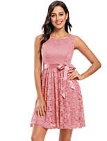 cheap -A-Line Elegant Minimalist Homecoming Party Wear Dress Jewel Neck Sleeveless Short / Mini Lace with Bow(s) Pleats 2020