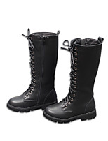 cheap -Girls' Boots Combat Boots Leather Little Kids(4-7ys) / Big Kids(7years +) Walking Shoes Black Fall / Winter / Knee High Boots