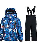 cheap -boy's ski jacket pants windproof snow suit waterproof 2-piece snowsuit girls unisex (4, 55blue+black)