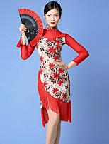 cheap -Latin Dance Dress Tassel Split Pattern / Print Women's Training Performance Long Sleeve Natural Nylon Tulle