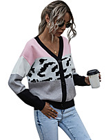 cheap -Women's Basic Knitted Leopard Color Block Cheetah Print Cardigan Long Sleeve Sweater Cardigans Open Front Spring Fall Blue Gray