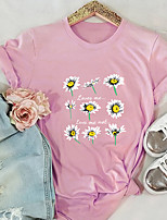 cheap -Women's Blouse Shirt Floral Letter Flower Print Round Neck Tops 100% Cotton Basic Basic Top Black Blue Blushing Pink