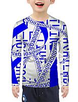 cheap -Kids Boys' Active Basic Color Block 3D Letter Print Long Sleeve Blouse Blue