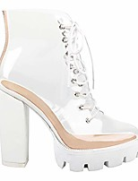 cheap -women's fashion clear lace up ankle boots - transparent tpu platform block high heels - white size 9.5