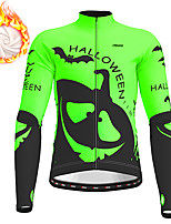 cheap -21Grams Men's Long Sleeve Cycling Jacket Winter Fleece Polyester Orange Green Novelty Funny Bike Jacket Top Mountain Bike MTB Road Bike Cycling Thermal Warm Fleece Lining Breathable Sports Clothing